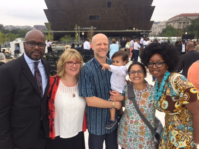 From left to right: Billy Mayfield, Anne Kerns, Mike Englert, his creative and life partner Ambica Prakash (current AIGA DC board member) with their son; and Dian Holton (current AIGA DC board member). (Photo: Dian Holton)