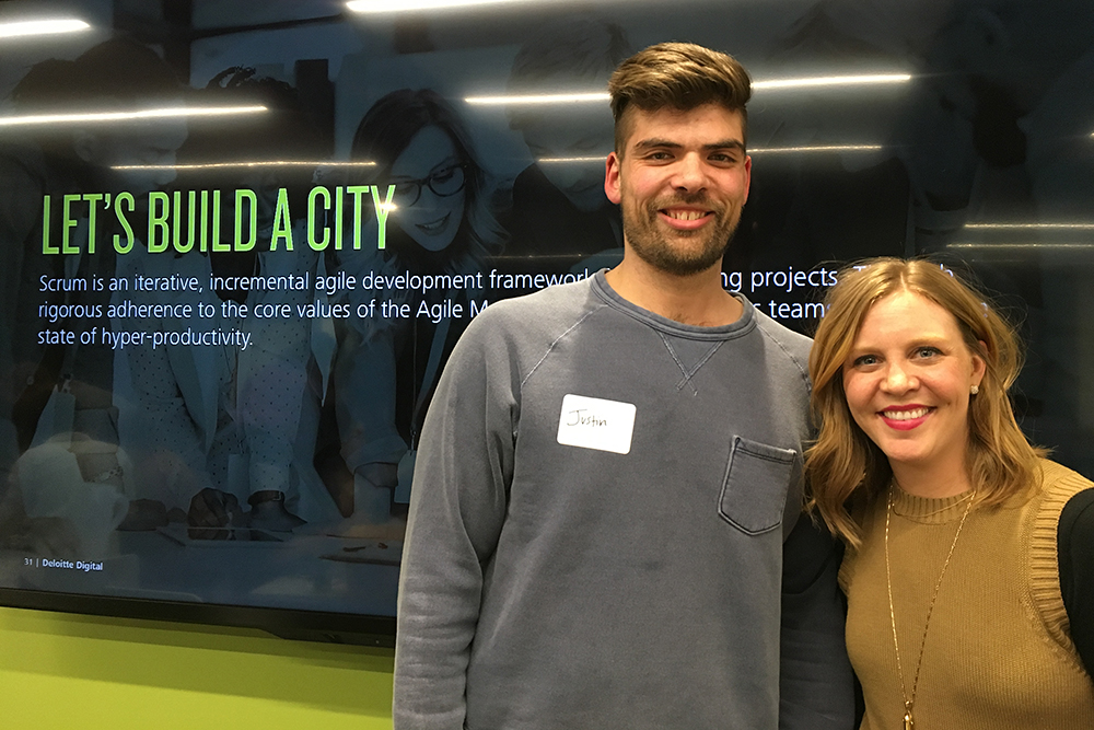 Justin Franks and Lindsey George from Deloitte Digital led the Lego™ City Agile Workshop. Franks and George use the playful bricks to familiarize outside clients with agile and scrum methods.