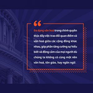 Khanh Pham designed a Vietnamese language graphic talking about diversity and democracy.