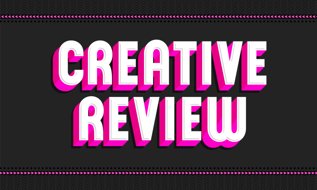 Header graphic. The words Creative Review in pink and white on a black textured background with a decorative pink border.