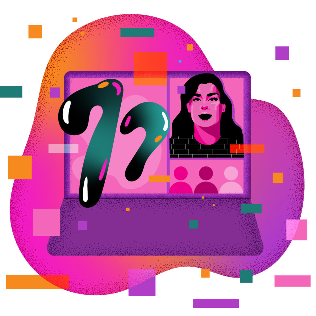 A purple laptop with Zoom on screen. The number 77 emanates from the presenter window, with viewers in other windows. Blocks of orange, teal, purple and pink float around in space.