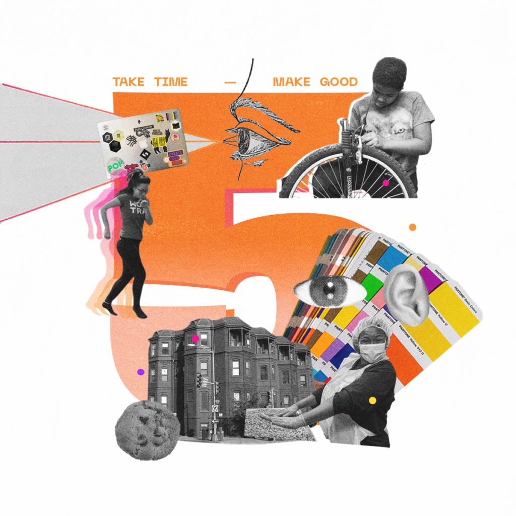 The number 5 surrounded by cutout photos representing various DC nonprofit organizations and the tools of designers.