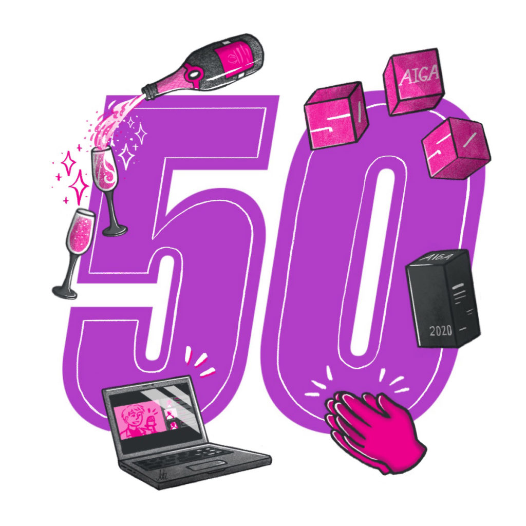 The number 50 surrounded by iconic illustrations of a champagn bottle and glasees, AIGA50 award trophies, clapping hands, Zoom on a laptop.