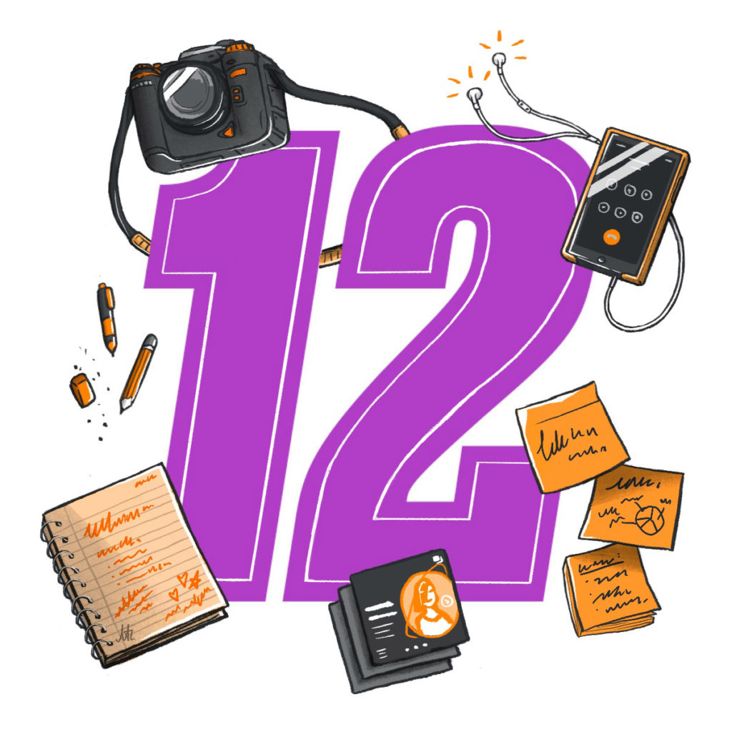 The number 12 surrounded by iconic illustrations of a camera, pencil, notebook, smartphone with earbuds, stick notes and instagram carousel images.