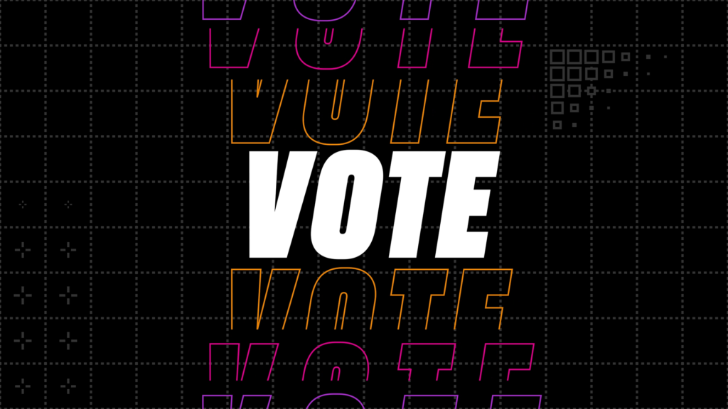 Vote in white text on a black background.