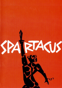 red background with white lettering reading spartacus and black figure of a man with a raised hand holding a sword