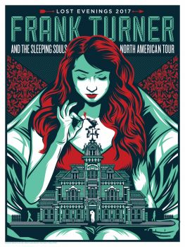 Poster for Frank Turner Lost Evenings tour, A woman holding a classic manor house on her lap, lighting fire to the weathervane