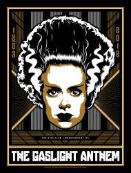 Poster for the Gaslight antehem with the head of Bride of Frankenstein staring out