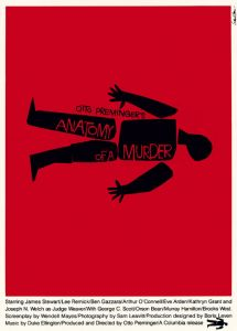 red background with black cutout figure and text reading Anatomy of a Murder